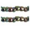 3 Cut Beads 10/0 Opaque Iris Green